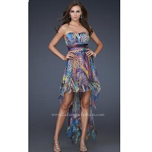La Femme  Multi Animal Print Party Dress